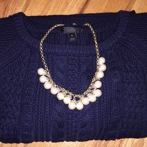 J Crew navy cable knit sweater